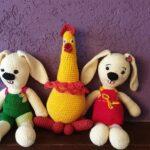 Zające i kura z włóczki od Rumento